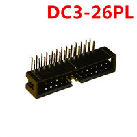 10pcs 26Pin DC3 Simple horns Right Angle pin 2.54mm Shrouded Male Header Connector ISP interface JTAG socket copper In Stock Now