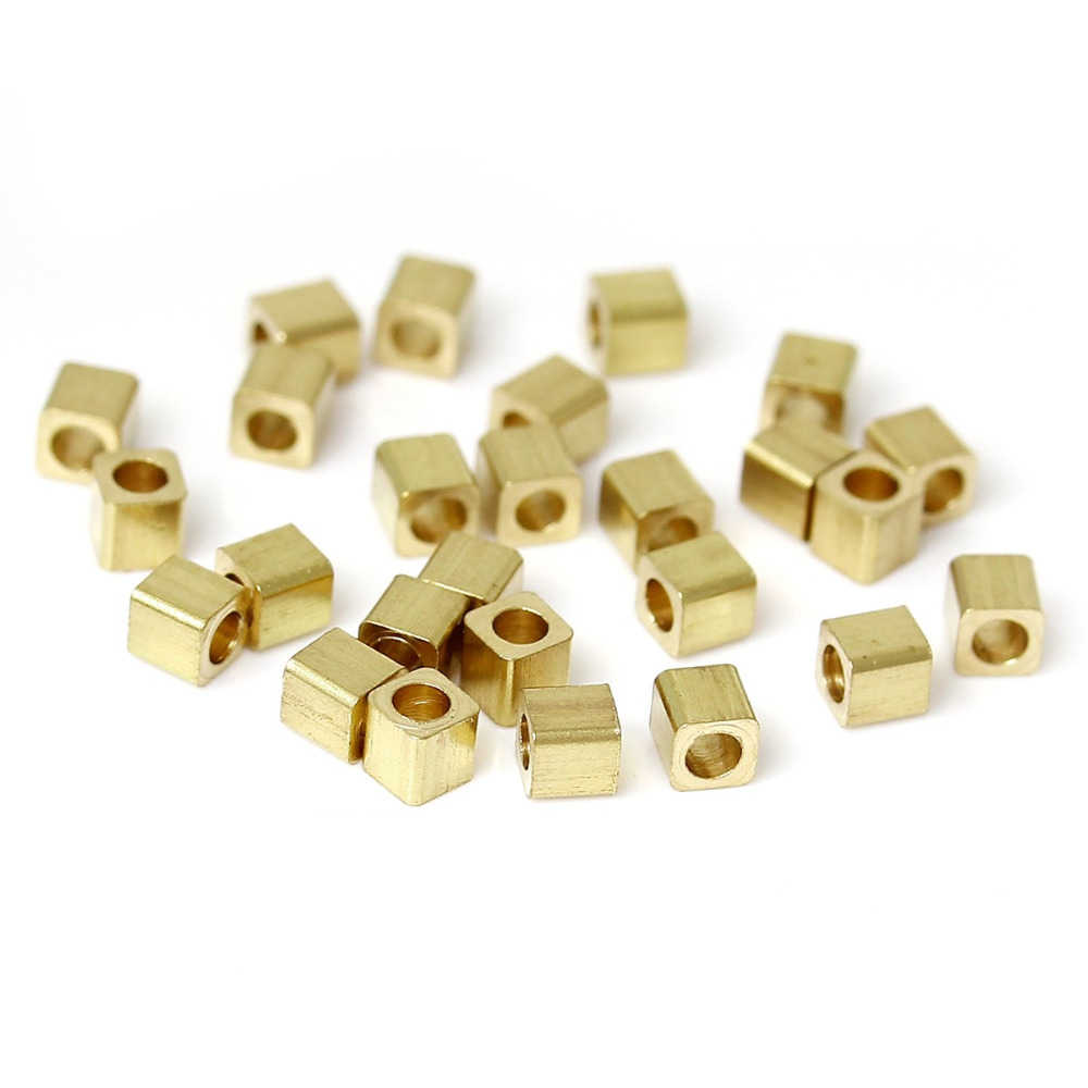 DoreenBeads High Quality Copper Seed Beads Cube Light Golden DIY Findings About 2mm x 2mm, Hole: Approx 0.5mm, 50 PCs 2017 new