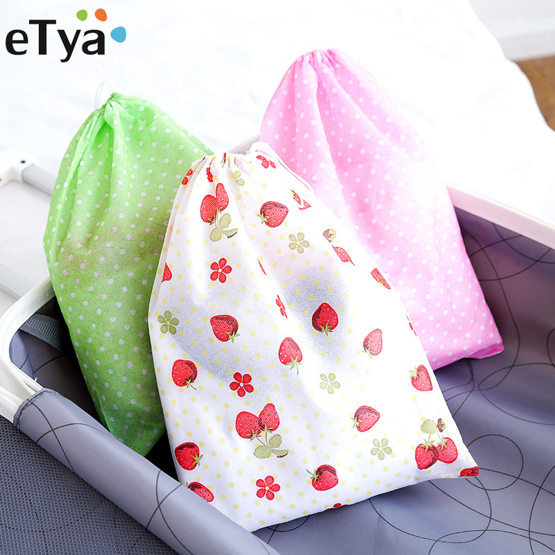 ETya Non-woven Fabric Handmade Shoes Covers Drawstring Bag Women Small Fresh Shoes Bag Travel Portable Storage Pouch Package