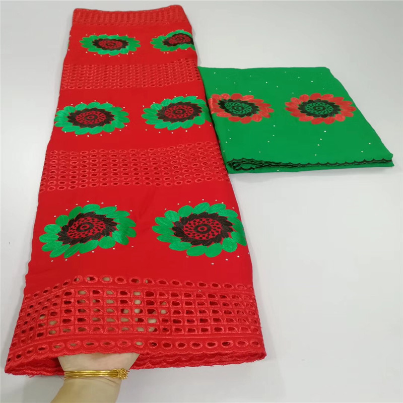 Latest African Lace Fabric Red and green Swiss Voile Lace High Quality Emboridery French Cotton Lace