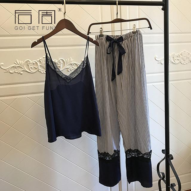 Sleepwear Female Sexy Lace Elegant Satin Pajamas 2019 Spring Autumn Women Silk Pijama Sets High Quality Vest+Long Pants 2Pieces