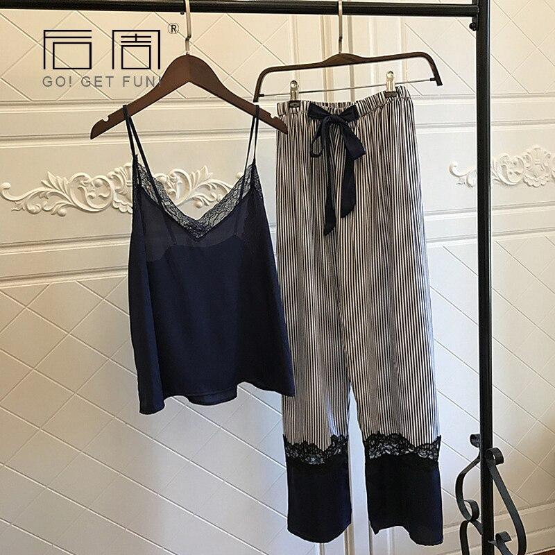 Vêtements de nuit Femmes Sexy Dentelle Élégante Satin Pyjama 2018 Printemps Automne Femmes Soie Pijama Ensembles De Haute Qualité Gilet + Pantalon Long 2 pièces