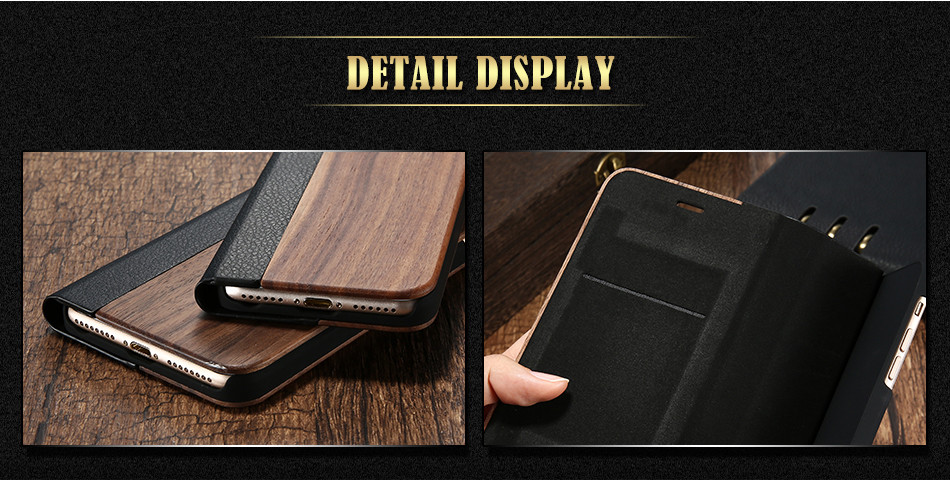 DOEES Real Wood Leather Case For iPhone 6 6S 7 7 Plus Cover Stand Holder Card Slot Vintage Cover For iPhone 6 7 Flip Wallet Case (5)
