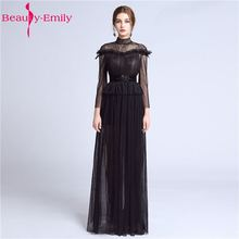 Beauty Emily Sexy Long Lace Black Evening Dresses 2019 Floor-Length Sweep Train Zipper Formal Party Prom Full Sleeve Hig