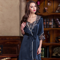Hot Sale Sexy Real Silk Women Bathrobes High Quality 100 Mulberry Silk Two Piece Robe Sets