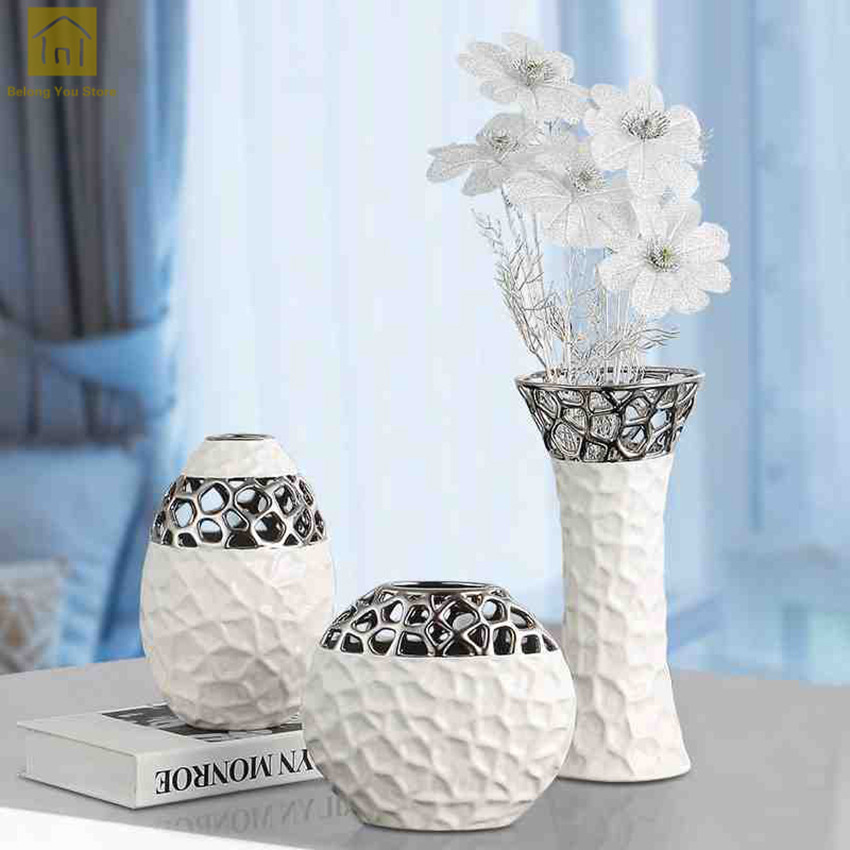 Hollow Out Ceramic Vase Moderne Ceramique Flower Vase White Ceramic Wedding Decor Artificial Flowers In Decorative Vases QAB112