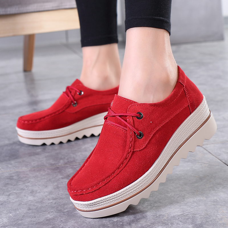 HKOVAL Women Shoes Flats Sneakers Loafers Moccasins Platform Genuine Leather Spring Autumn Ladies Female Swing Shoe in Women 39 s Flats from Shoes