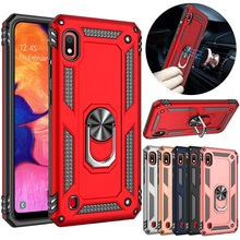 For Samsung Galaxy A10 Dual Layer Military Armor Case Magnetic Ring Stand Slim Shockproof Hard Cover все цены