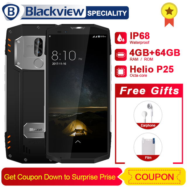 """Blackview BV9000 смартфон 5,7 """"18:9 HD + полный Экран IP68 Водонепроницаемый 4 GB + 64 GB Helio P25 Octa Core 4180 mAh 13 + 5 Мп NFC 4G телефон"""