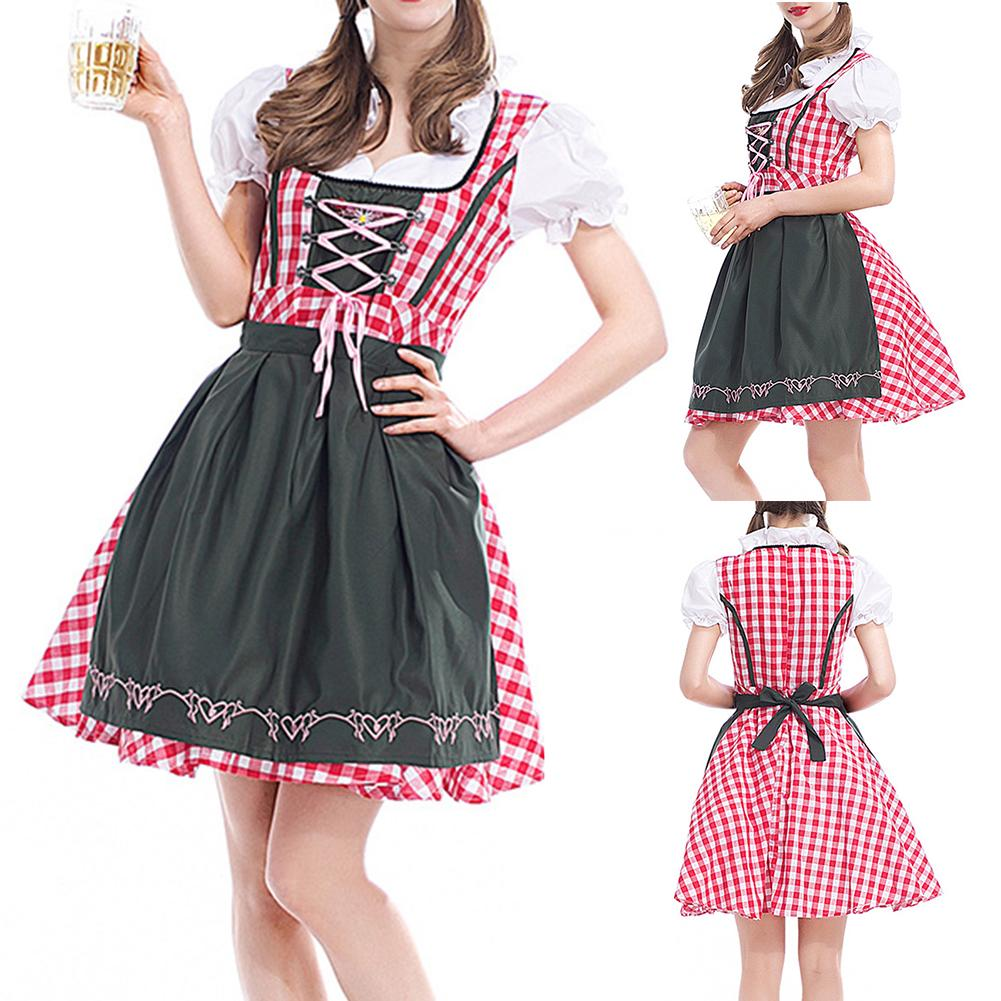 Waitress Beer Maid Role Play Halloween Cosplay Performance Suit Lady Cosplay Costume Cos Costume Make Up Party Dress Set