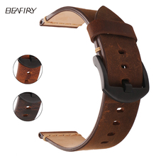 BEAFIRY Genuine Leather Watch Band 24mm Dark Brown Light  Matte Oil tanned Natural Crack Straps
