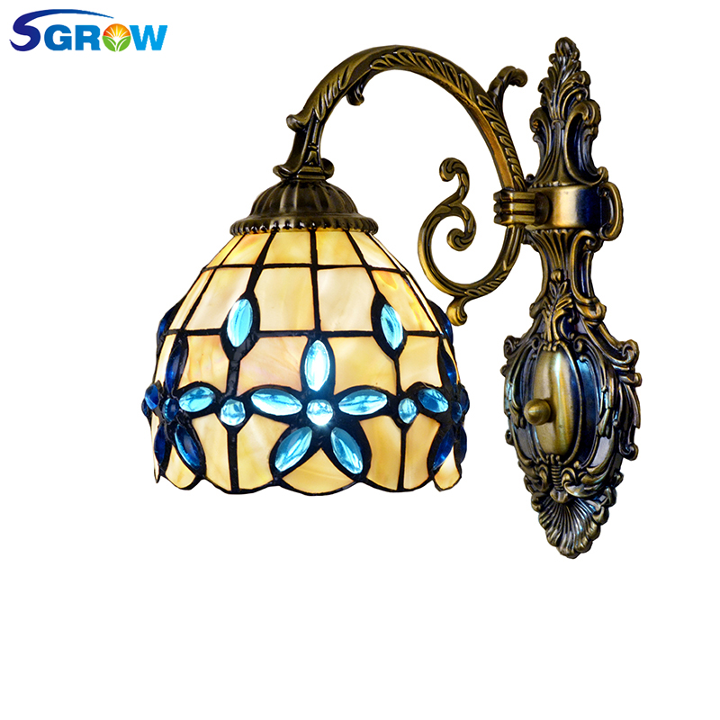 SGROW Classica Pastoral Lamp Art Shell Table Light Blue Beads Decoration Lighting Desk Lamps for Bedroom Beside Lilac Lampara