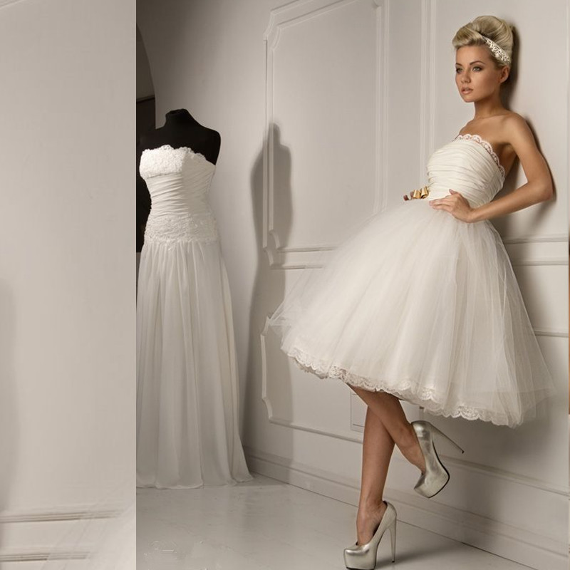 Knee Length Short Ball Gown 2016 New Sexy Strapless White