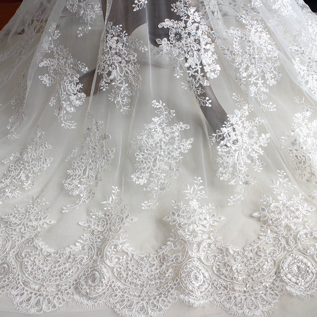 Off White Car Bone Sequins Full Embroidered Lace Fabric Wedding Dress Cloth Width 130cm 1meter