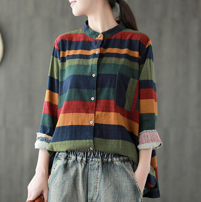4c1fb603663 Women Vintage Tops Autumn Spring 2018 Stripe Cotton Linen Cardigan Contrast  Color Long Sleeve Shirt Mori
