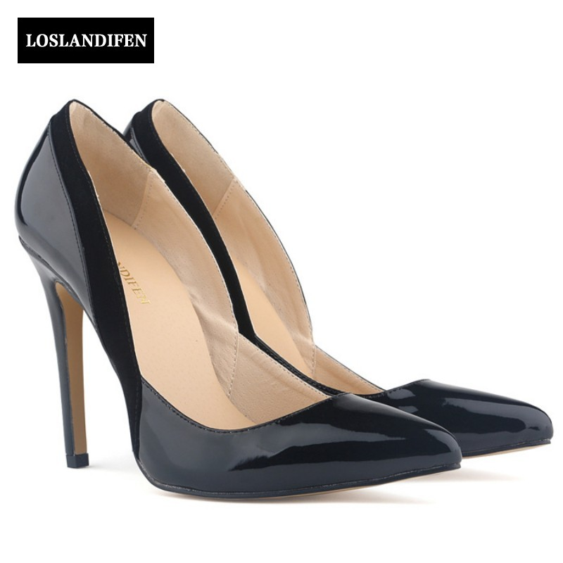 цены  fashion Elegant Sexy Shallow High Thin Heel Pumps Pointed Toe Patent Leather Slip On Wedding Shoes Women Footwear Zapatos Mujer