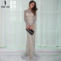 Missord 2017 Sexy O Neck Long Sleeve Pattern Glitter Women Slim Maxi Elegant Dress FT8581