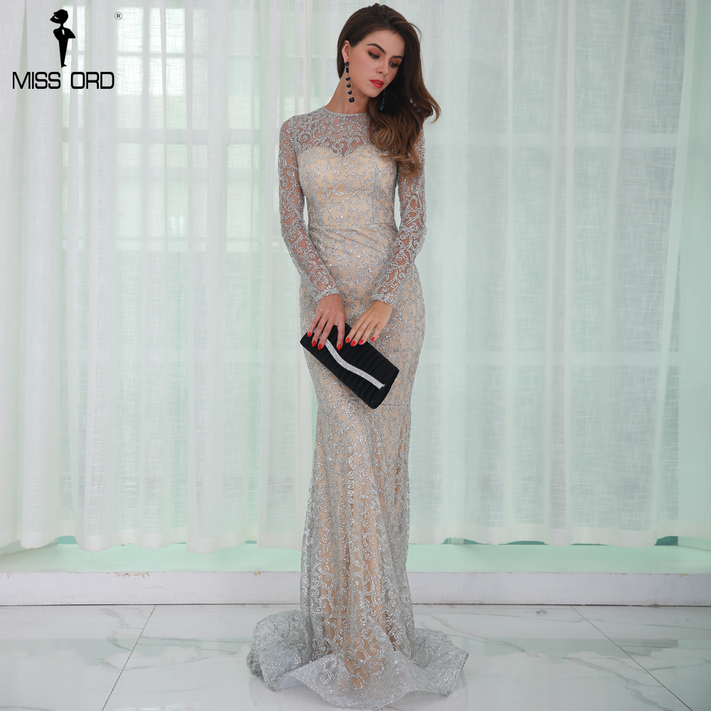 ad707c9e5a Missord 2017 Sexy O Neck Long Sleeve Pattern Glitter Women Slim Maxi  Elegant Dress FT8581