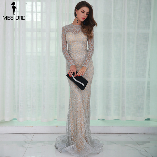 Missord 2017 Sexy O Neck Long Sleeve Pattern  Glitter Women Slim Maxi Elegant Dress  FT8581