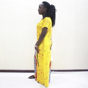 Image 3 - אפריקאי שמלות לנשים 2019 חדש אפריקאי צהוב מזדמן קצר שרוול ארוך שמלה