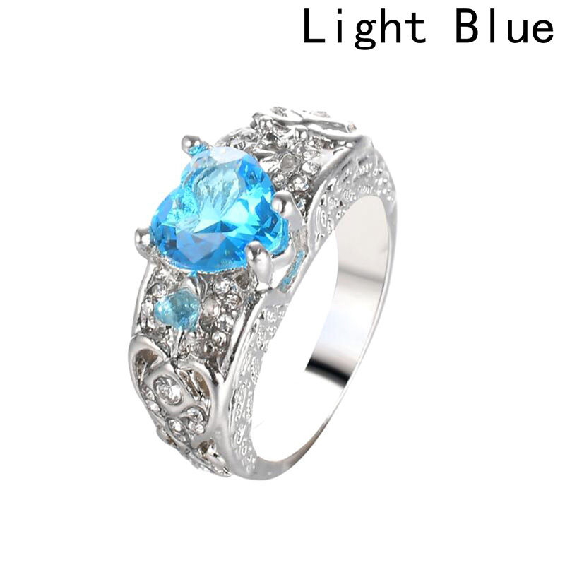 1Pcs Romantic Fashion Female Princess white red blue pink Heart Ring Jewelry Promise Engagement Ring For Women