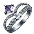 COROA anel preto Ródio chapeado anel de dedo cz zircão branco roxo vermelho de casamento da princesa ANÉIS de noivado JÓIAS