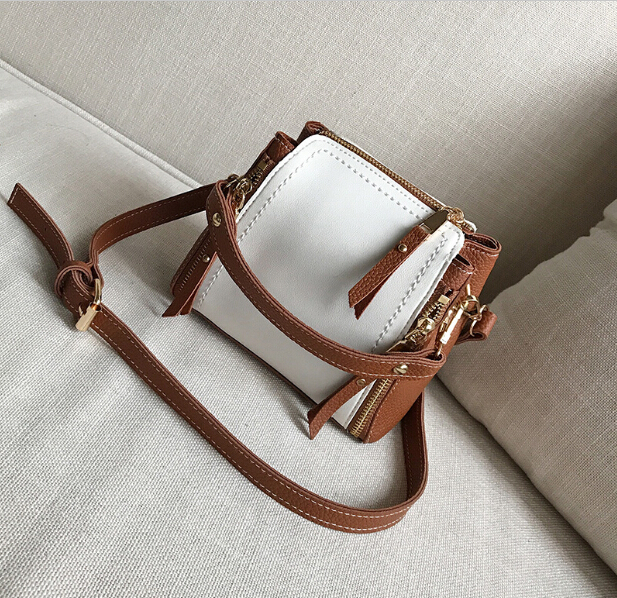 Mode femmes petit sac femelle vintage seau mini sac mignon couleur bloc une épaule femmes de tout-allumette messager sac yuanf99