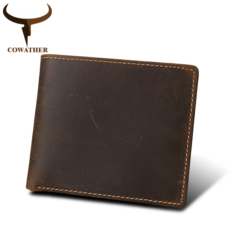 COWATHER 2018 100% cow genuine Crazy horse leather mens wallet vintage short style high quality male purse C8006 free shipping free shipping brand a2 style leather clothing plus size man s 100% genuine leather jackets classics mens engraved jacket quality