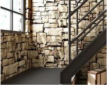 beibehang papel de parede Retro Nostalgic Marble Stone Bar Cafe Industrial Wind 3d Wallpaper Simulation Brick Wallpaper behang цена 2017