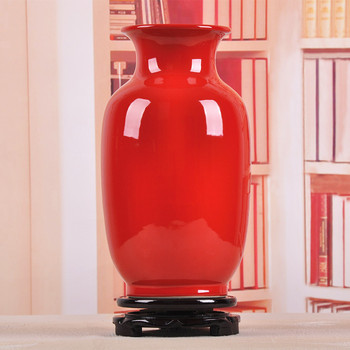 Jingdezhen china red color porcelain ceramic vase for wedding and gift