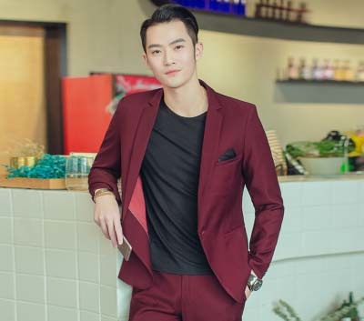 Suits men s suits ont button two butotn red,grey business Slim small size suit groom wedding suits Korean style