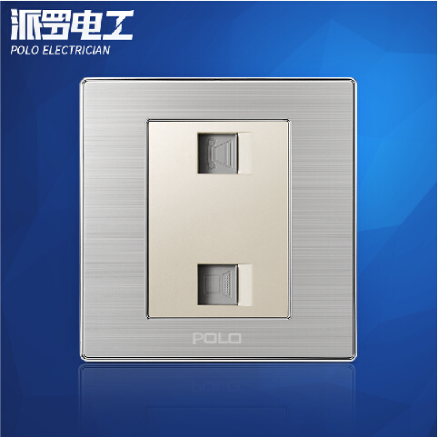 все цены на Wholesale POLO Luxury Wall Socket Panel, Double Telephone Outlet, Champagne/Black, Electric Socket, 10A, 110~250V, 220V,86*86mm