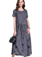 O-neck Maxi Dresses 2016 New Women Grey Robes Cotton Linen Plus Size Long Designer Loose Oversized Print Vintage Robe Maxi Dress