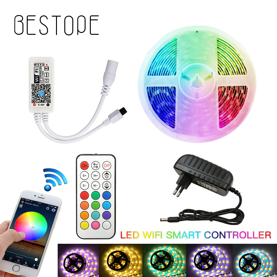 RF RGBW RGBWW LED Strip 5050 RGB WiFi 10m 5m DC 12V 5050 RGB LED Strip RGBW Stripe Flexible Light WiFi 24 Keys Controller