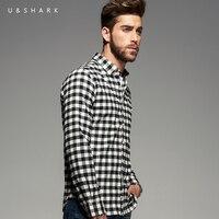 Italian Style Designer Long Sleeve Cotton Flannel Black Plaid Shirt Slim Fit Brand Men Clothing U