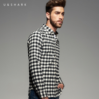 Italian Style Designer Long Sleeve Cotton Flannel Black Plaid Shirt Slim Fit Brand Men Clothing U