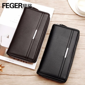 Genuine Leather Leather Men Clutch Bag mens Cash Wallet Purse Man Wristlet Card Holder black brown Male Coin Pocket FEGER