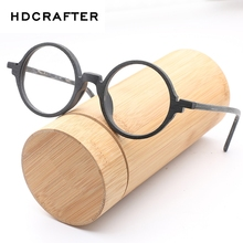 HDCRAFTER Mens Eyeglasses Frames Wooden Retro Round Glasses Frame for Women Wood Eyewear Optical Plain Glasses With Clear Lens