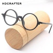 HDCRAFTER Mens משקפיים מסגרות עץ רטרו עגול משקפיים מסגרת עבור נשים עץ Eyewear אופטי רגיל משקפיים עם נקה עדשה