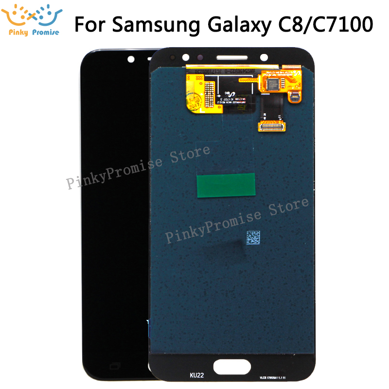 Super AMOLED For SAMSUNG GALAXY C8 LCD C7100 Display Touch Screen Digitizer Assembly C710F Replacement For