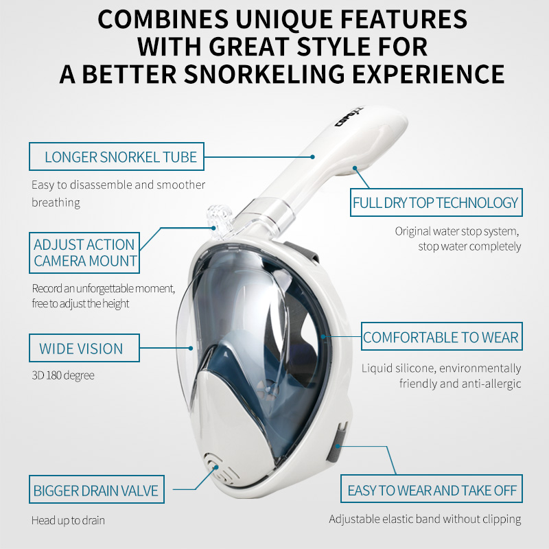Snorkel Diving Mask Anti Fog with Camera  Compatible Underwater 2