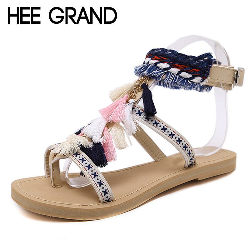 HEE GRAND Tassel Gladiator Sandals 2018 Summer Fringe Vintage Platform Shoes Woman Buckle Strap Flats Women Shoes XWZ4577 hee grand 2017 platform gladiator sandals beach beaded wedges sandals casual platform shoes woman slip on creepers xwz3466