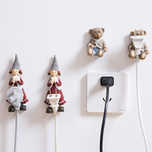 adorable outlet power cord storage rack wall stick hook holder home Resin girls cartoon bear