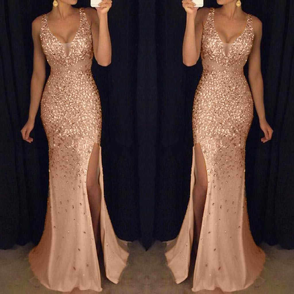 party night dress Women Sequin Prom Sexy Gold dresses Bridesmaid V Neck  Long elegant summer Dress robe femme 5