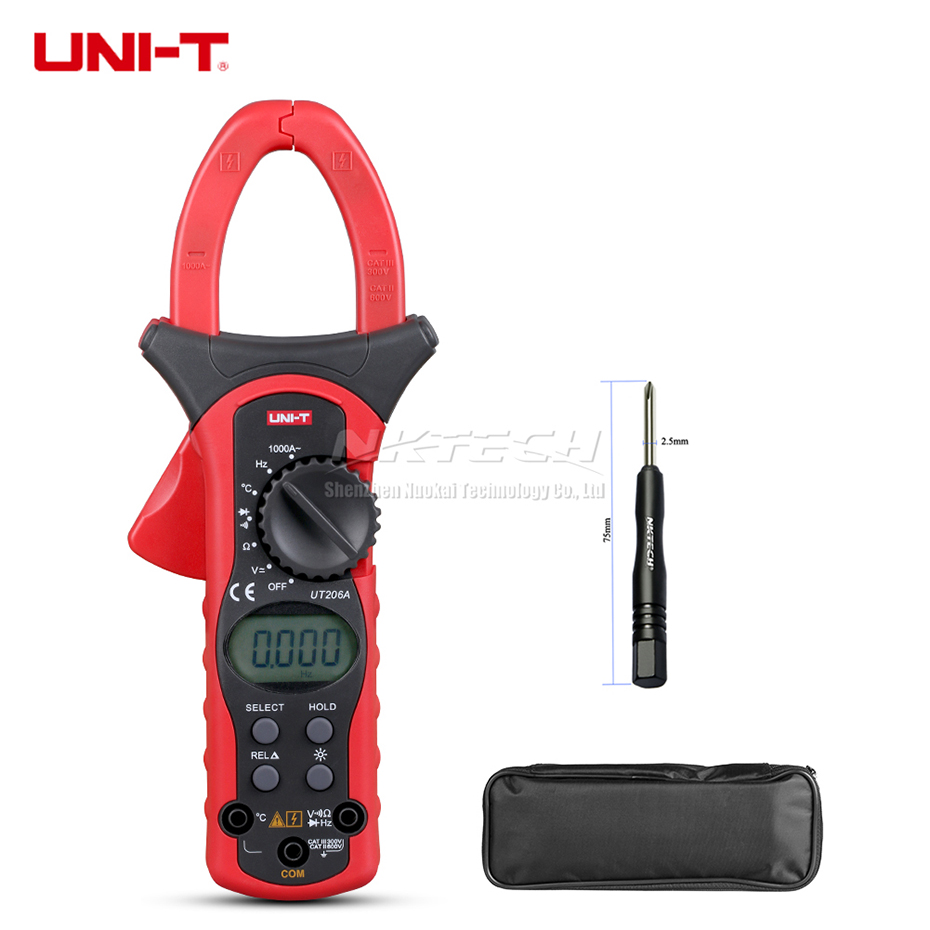 UNI-T Digital Clamp Meter Multimeter UT206A UT205A UT206 UT205 1000A Earth Ground Megohmmeter Temperature AC DC V ACA Res Freq uni t ut206a 1000a digital clamp meters earth ground megohmmeter multimeter voltage current resistance insulation tester