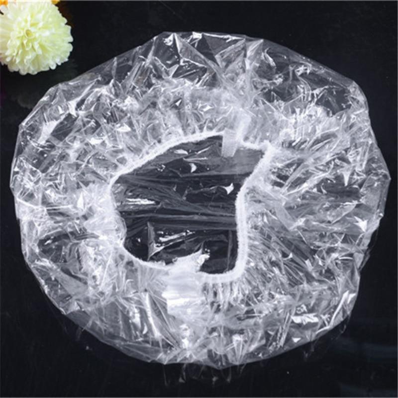 Y&W&F 100PCs Elastic Transparent One-off Shower Hair Cap Cover Bath Salon Spa Hat Hotle Bathroom Accessories Disposable