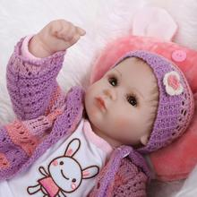"18"" bebe gift doll reborn Silicone Reborn babies With Cotton Body Dressed in Nice Sweater Lifelike newborn babies girls toys"