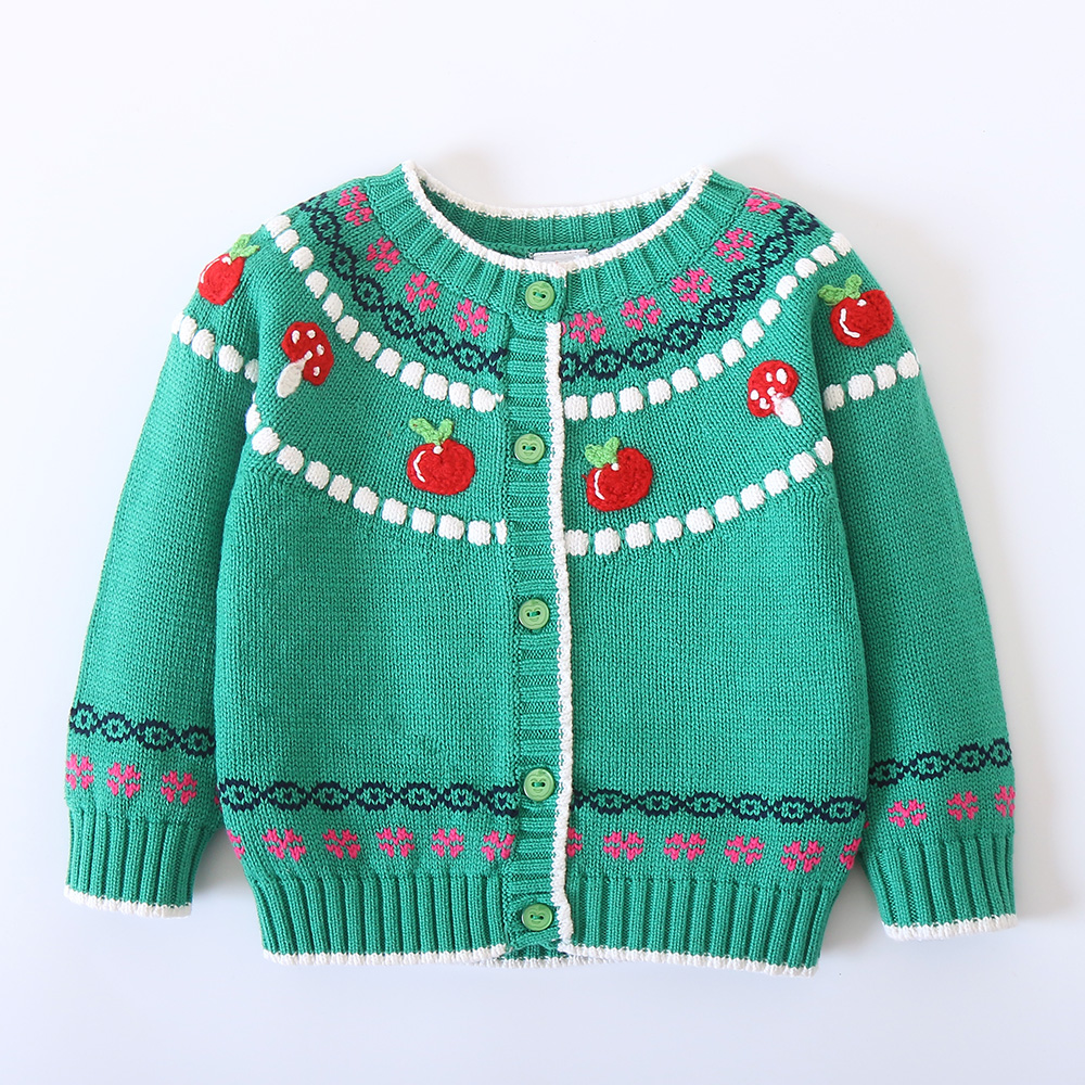 Winter New Baby Cotton Flower Embroidery Sweater Infant Autumn Clothing Girls Cute Sweaters Girls Cardigan Free Drop Shipping