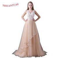 NIXUANYUAN 2018 New Custom Made Champagne Tulle Wedding Dresses 2017 V Neck Appliques See Through Sexy