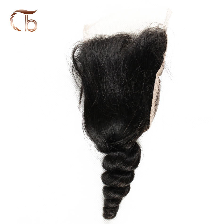 Unprocessed Malaysian virgin hair loose wave lace closure 8-20inch density 120% natural black human hair free three middle part